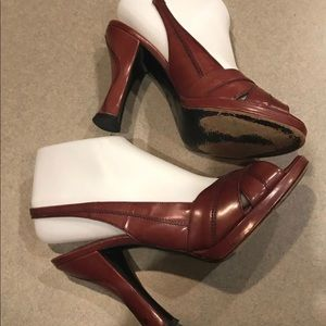 Via Spiga Burgandy Heels Size 8